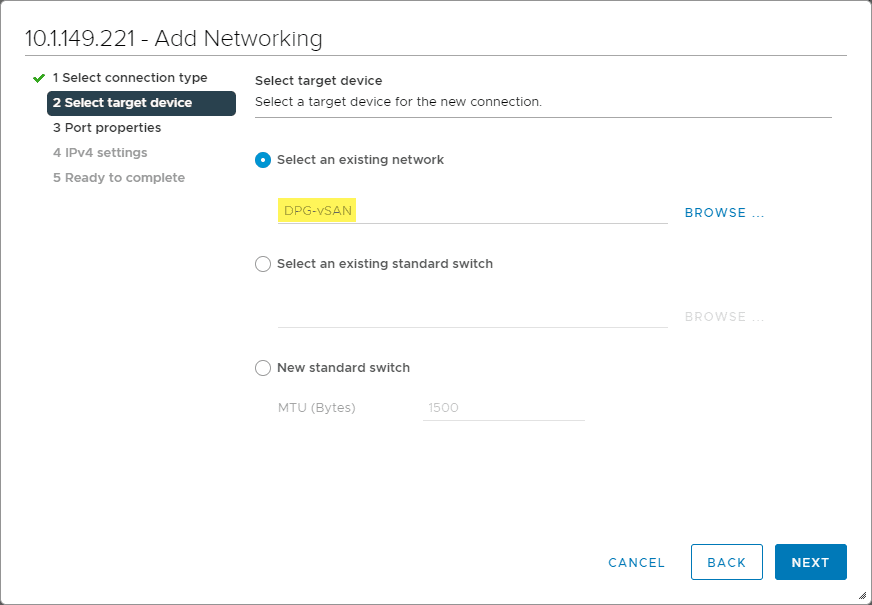 Choose your existing vSAN VDS created earlier