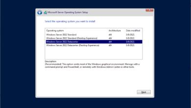 Choosing the Windows Server 2022 core installation