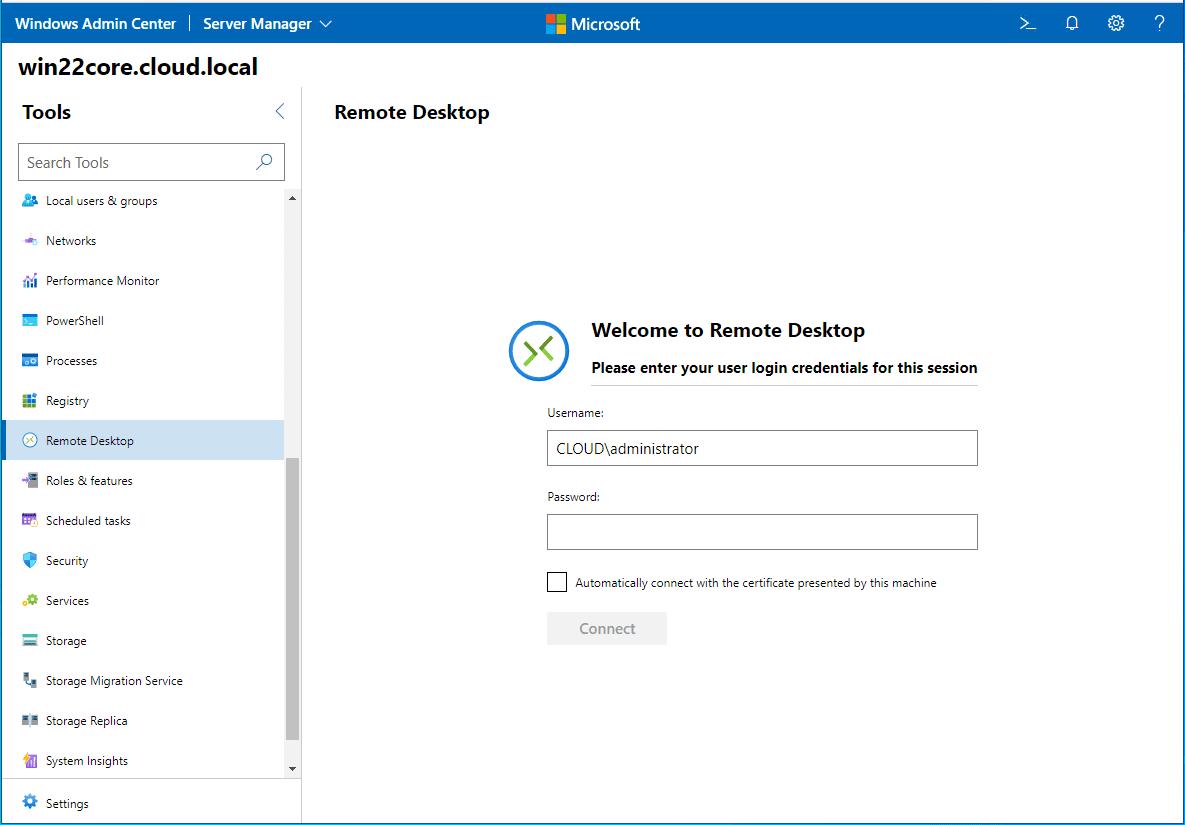 Connect to Windows Server 2022 Core remote desktop