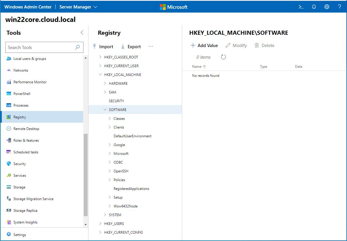 Edit the registry of Windows Server 2022 core