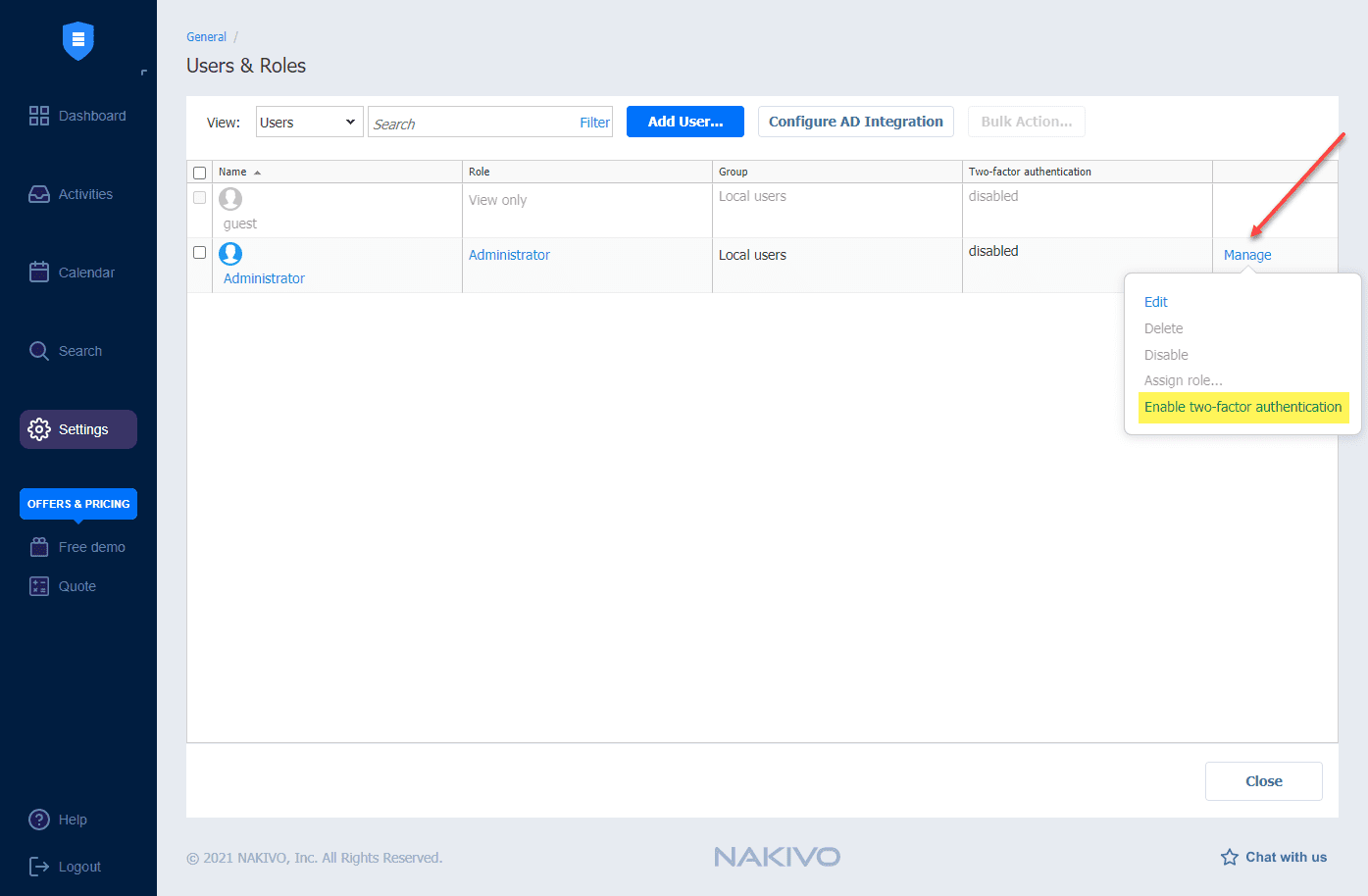 Enabling two factor authentication for an account in NAKIVO beta v10.4