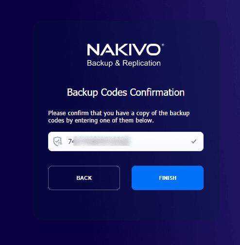 Enter one of the backup codes to ensure you have those saved