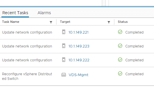 Host configuration is updated adding the hosts to the vDS