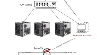 Multiple hosts with VLAN trunking on a physical network switch with gateway forwarding next hop