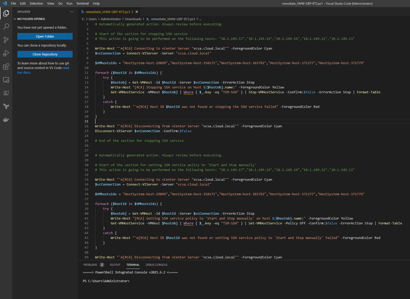 Opening the script inside of Visual Studio Code