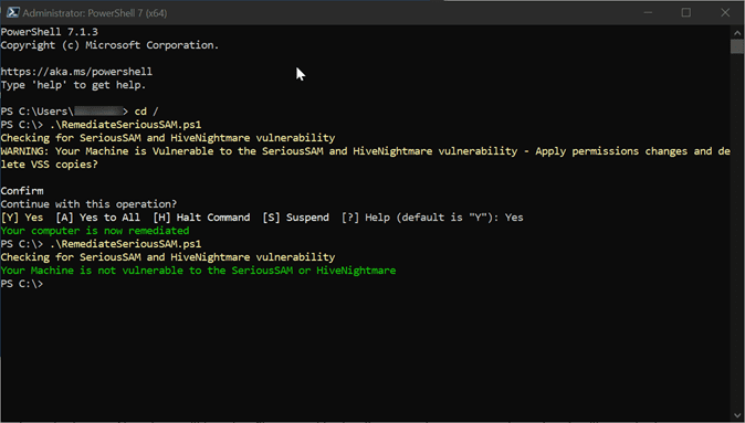 PowerShell Script workaround for SeriousSAM and HiveNightmare Vulnerability
