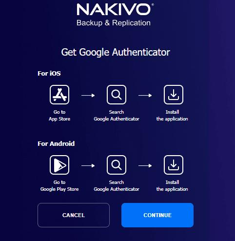 Prompt to setup Google Authenticator