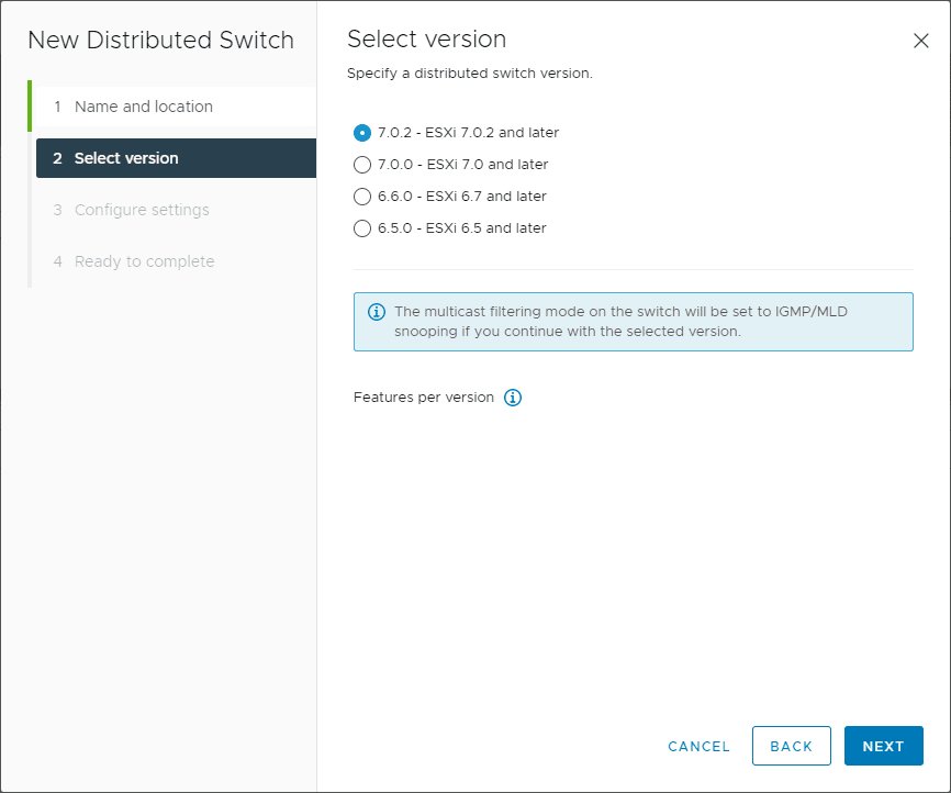 Select the version of vDS switch to create