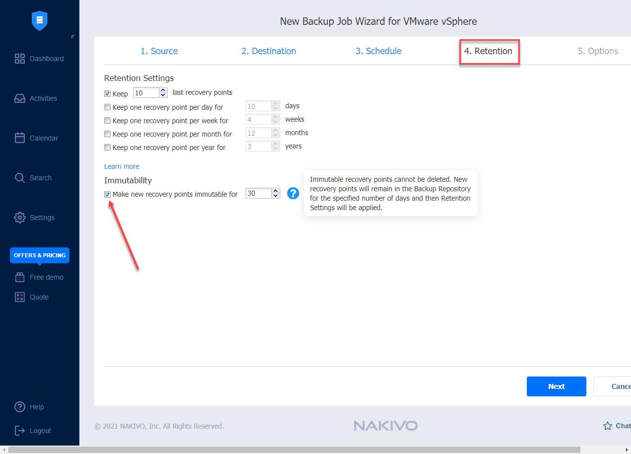 Setting the immutability flag on a backup in NAKIVO Backup and Replication v10.4