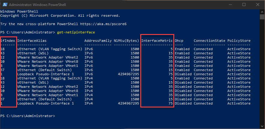 Using the get netipinterface command to view metrics