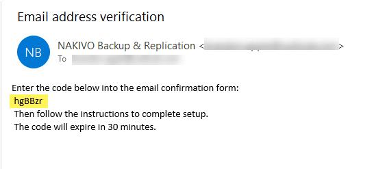 Verification code received via email