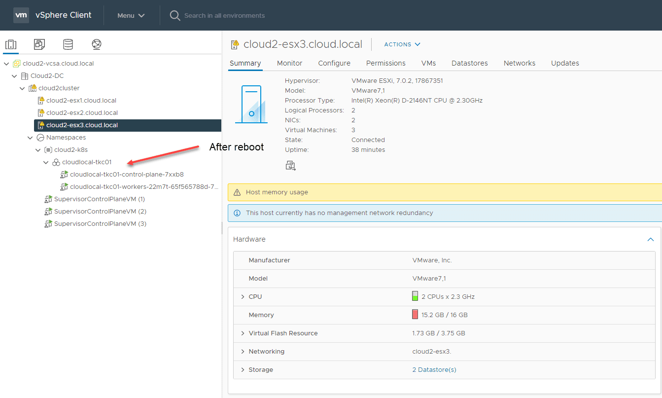 After rebooting or powering back on your TKC cluster everything comes back online