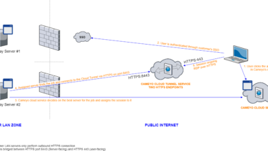 Cameyo Secure Cloud Tunneling architecture overview