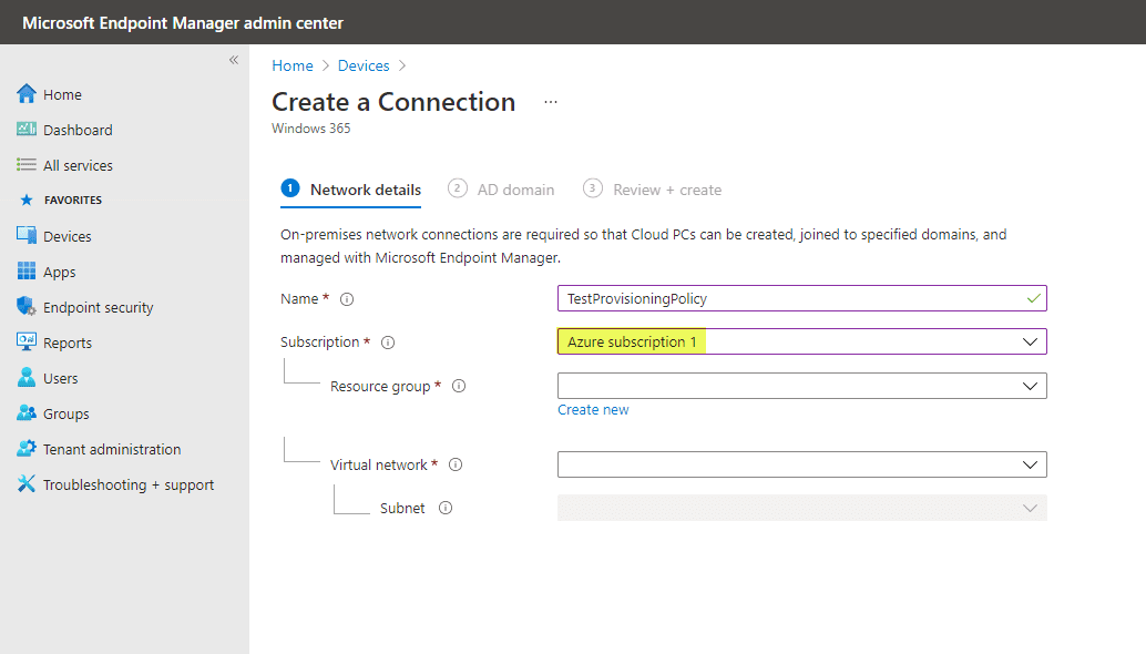 Create an on premises network connection for Windows 365 Enterprise Cloud PC