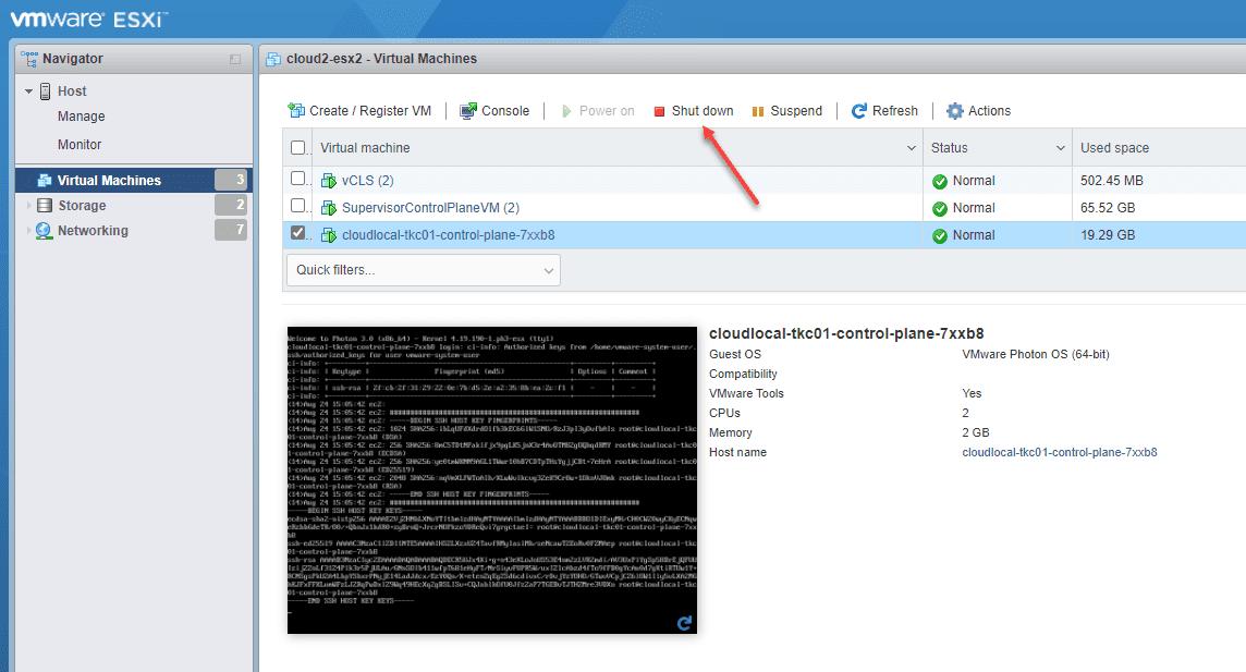 Shutdown the TKC control pane VMs on each respective ESXi host