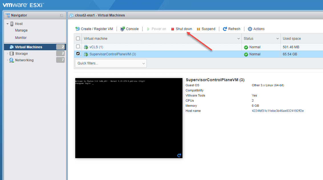 Shutdown the supervisor control plane VMs on each ESXi host