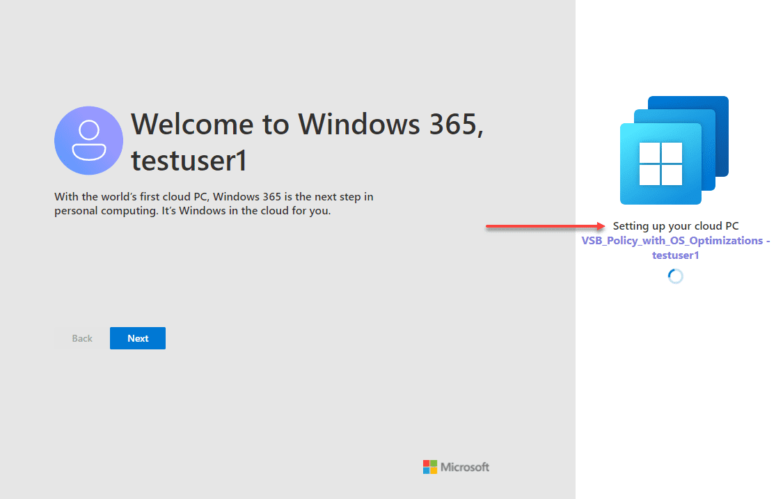 Windows 365 desktop provisioning for the end user