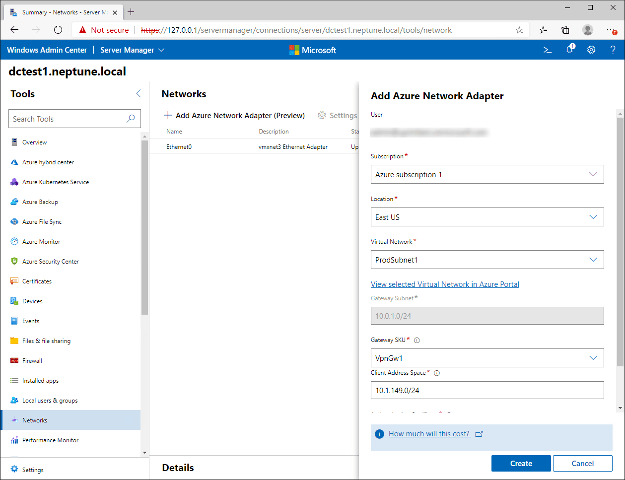 Add Azure network adapter connection wizard