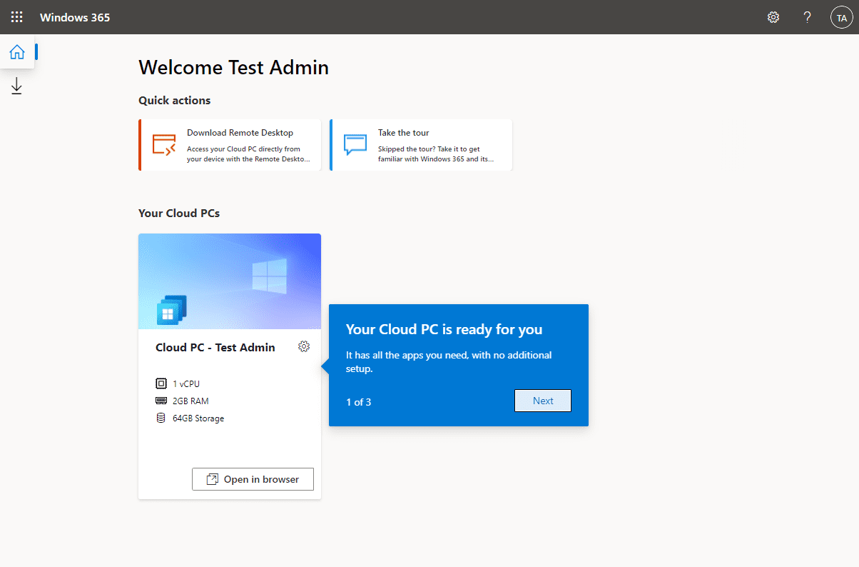 After logging in the Windows 365 Enterprise Cloud PC is available to the end user