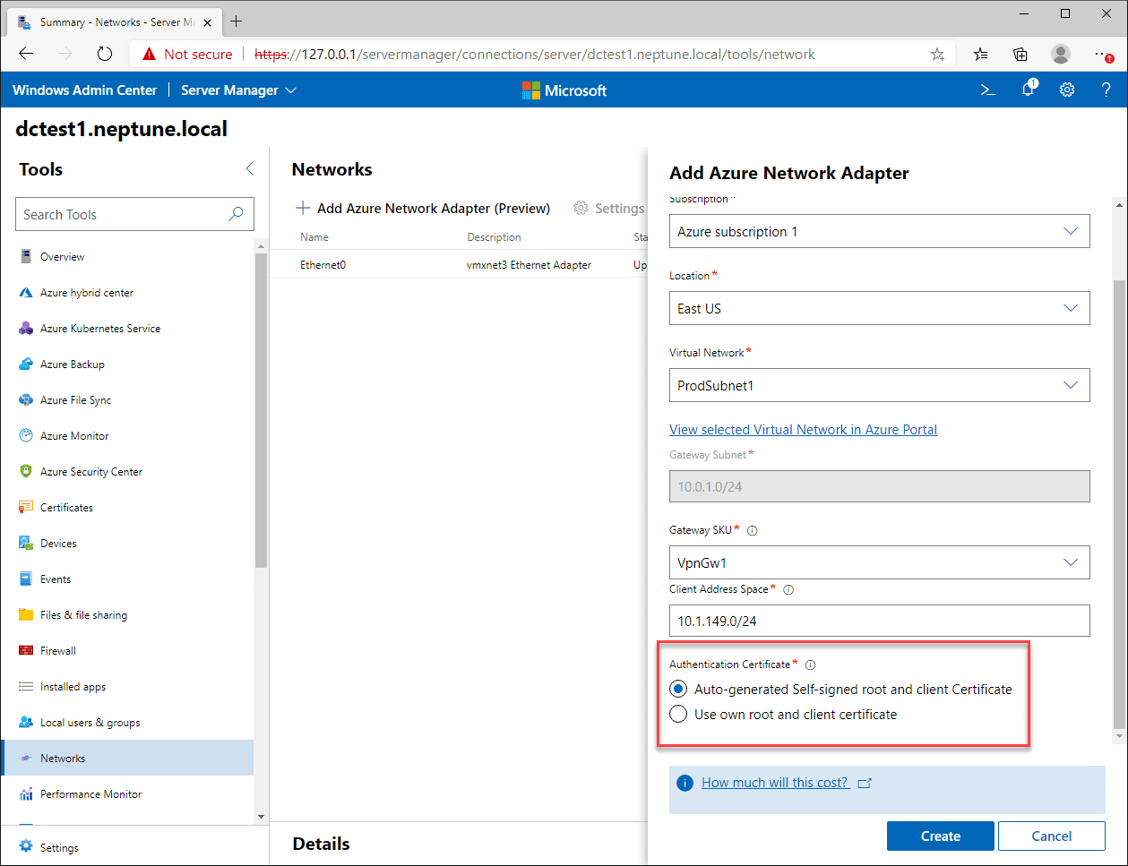 Certificate configuration is handled automatically
