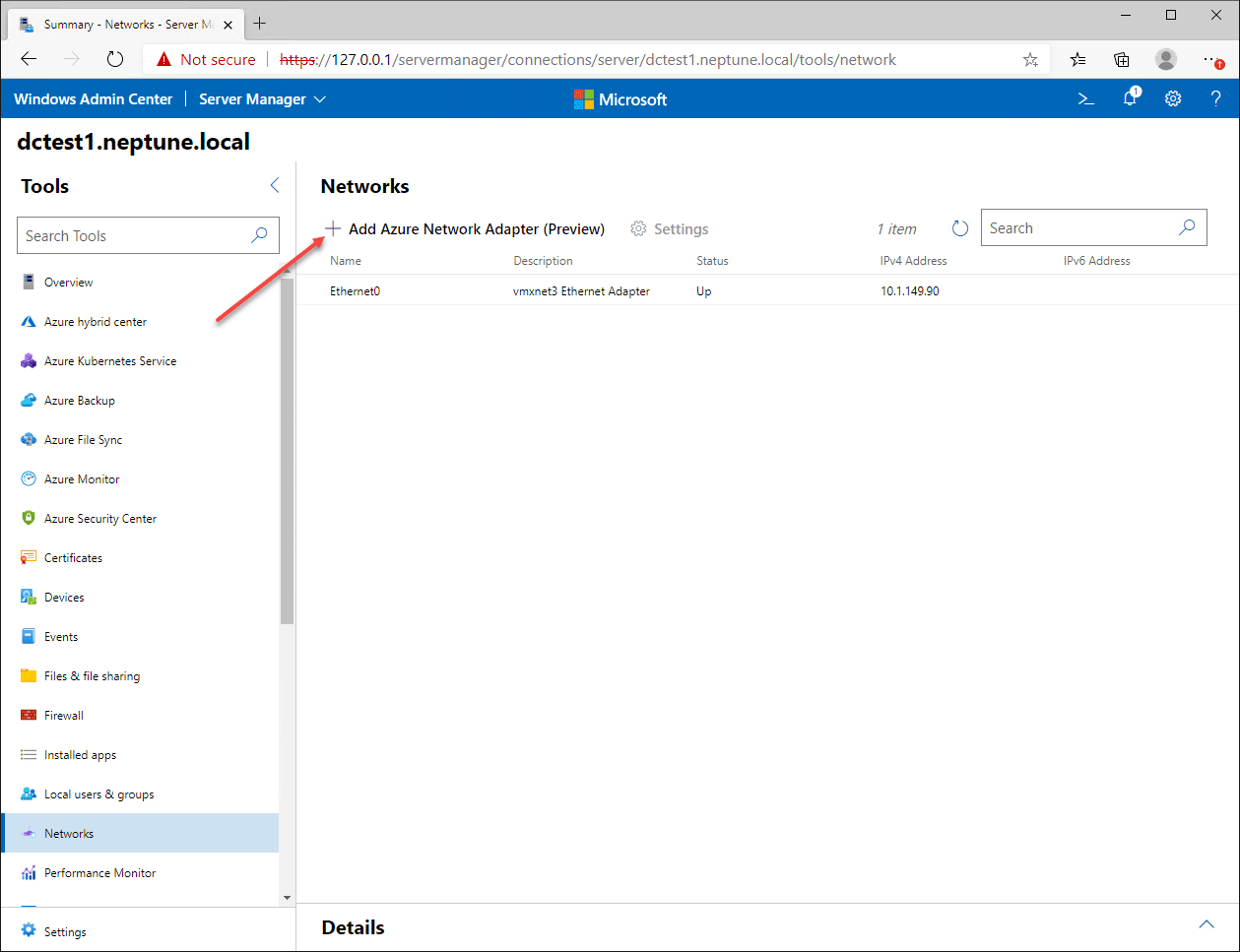 Click to Add an Azure Network Adapter