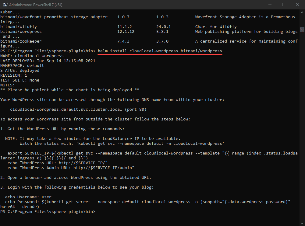 Deploying wordpress using helm in vSphere with Tanzu Kubernetes