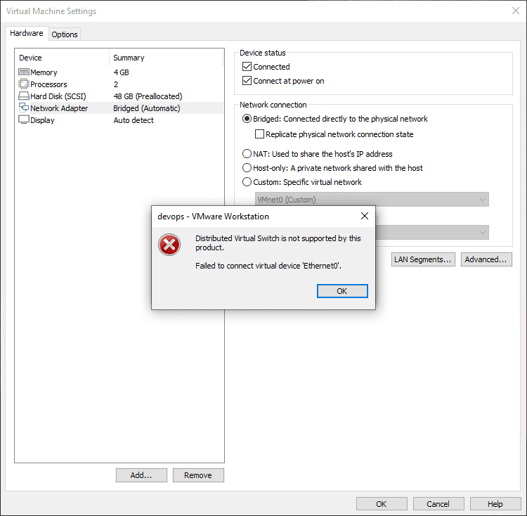 Distributed switch error when attempting to connect the network connection