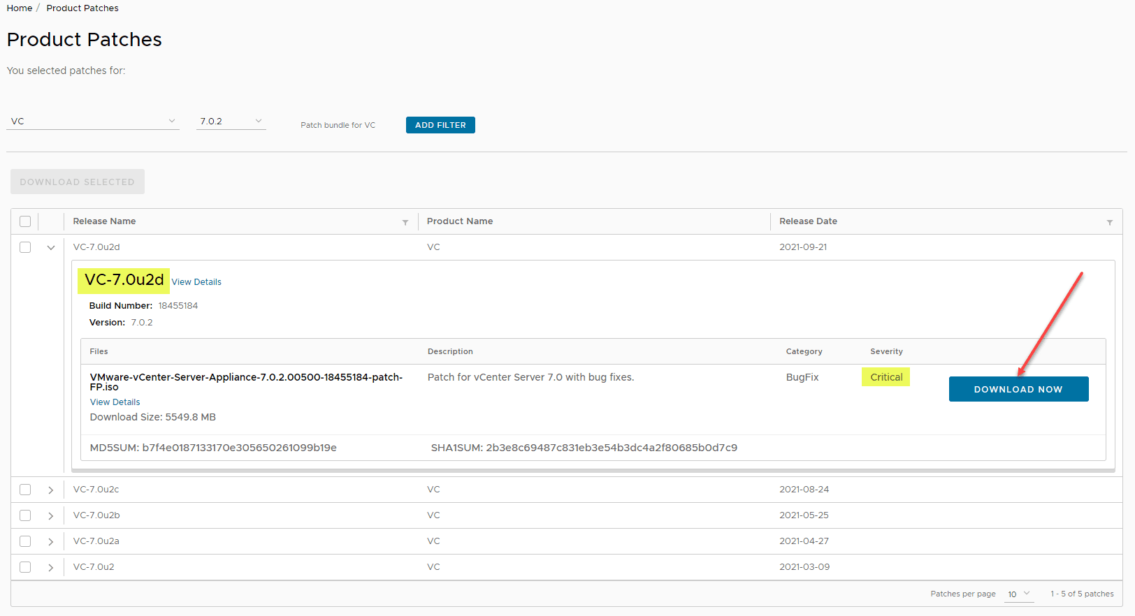 Download the vCenter Server patch ISO