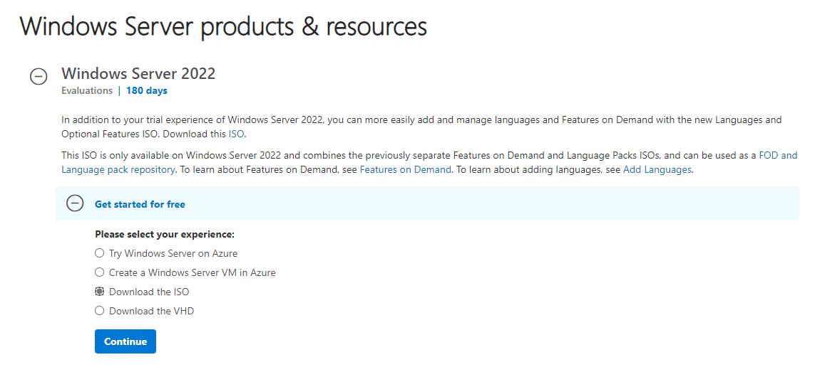 Downloading the Windows Server 2022 evaluation copy from Microsoft Evaluation Center