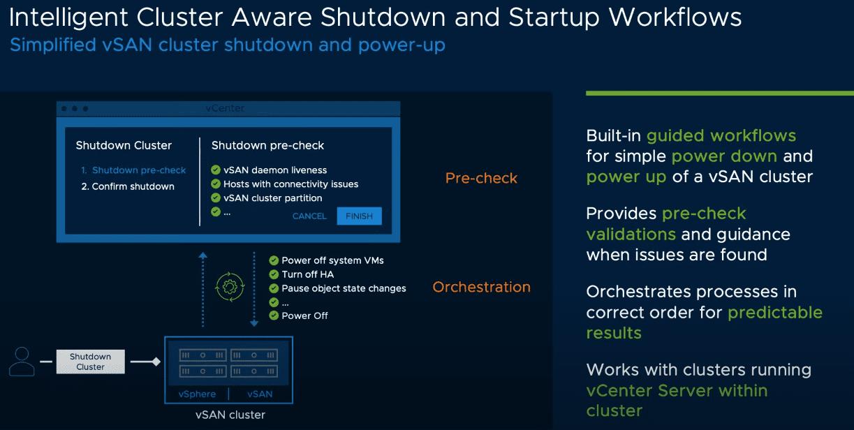 Intelligent cluster aware shutdown and startup workflows