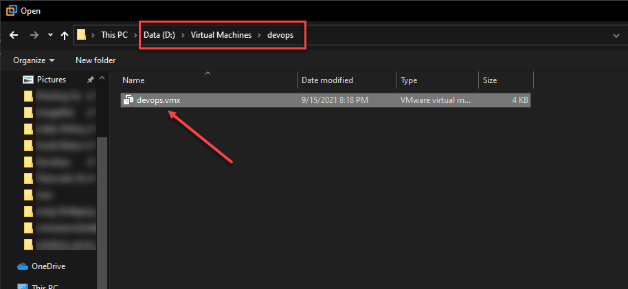 Open the VMX file in VMware Workstation to Open the VM