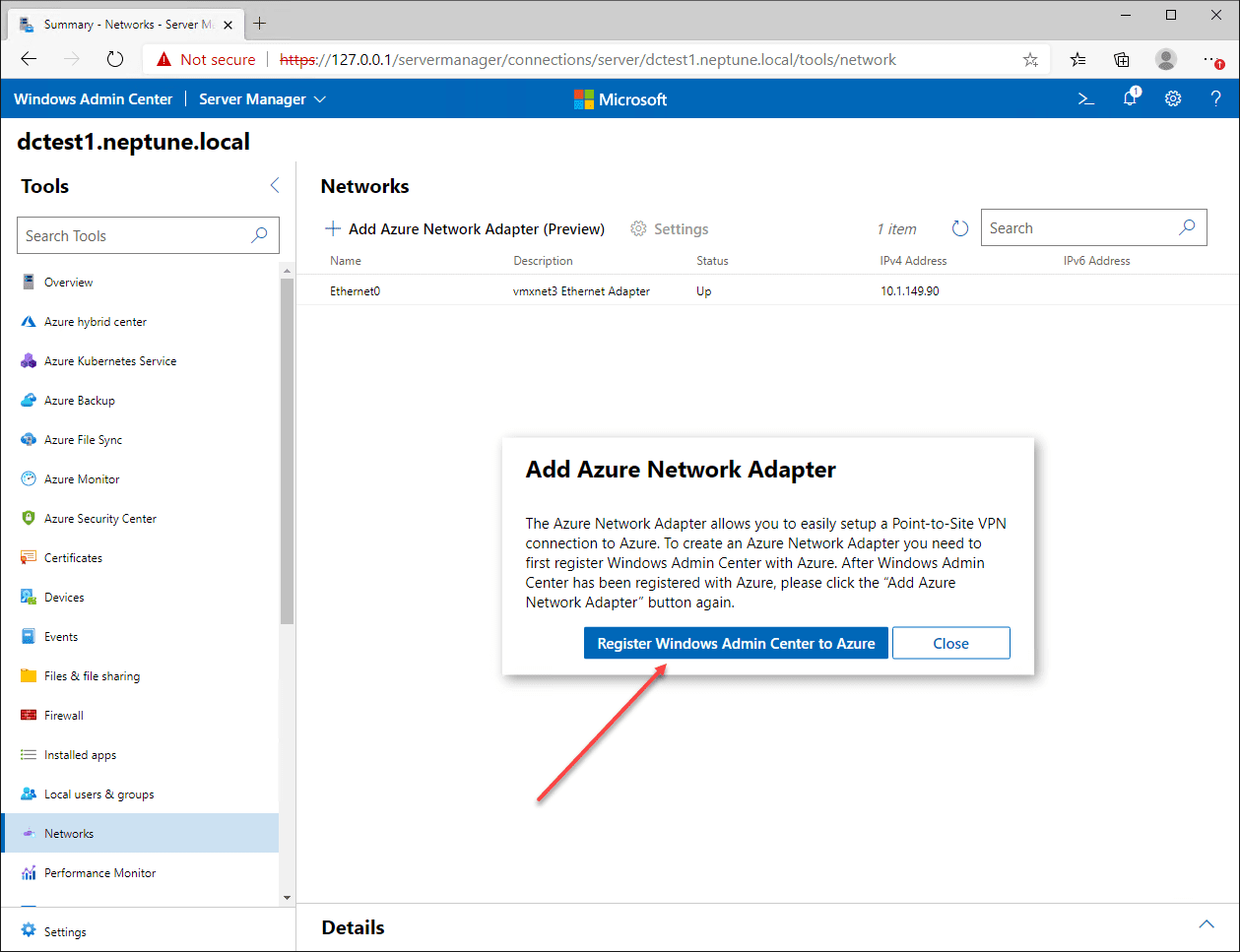 Prompt to register Windows Admin Center to Azure environment
