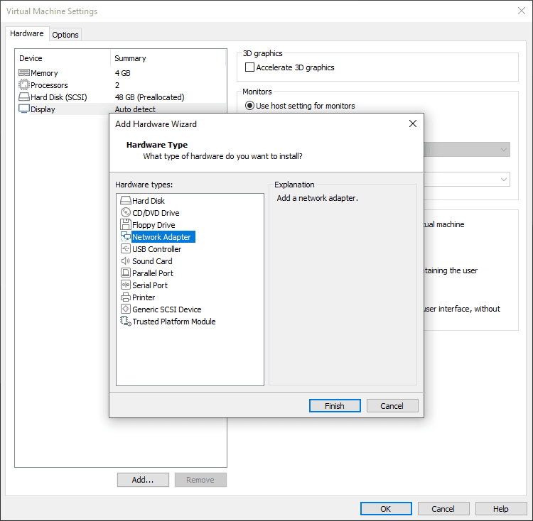 Removing and readding the network adapter to the virtual machine