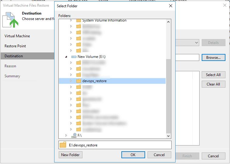 Restoring the VM files using Veeam
