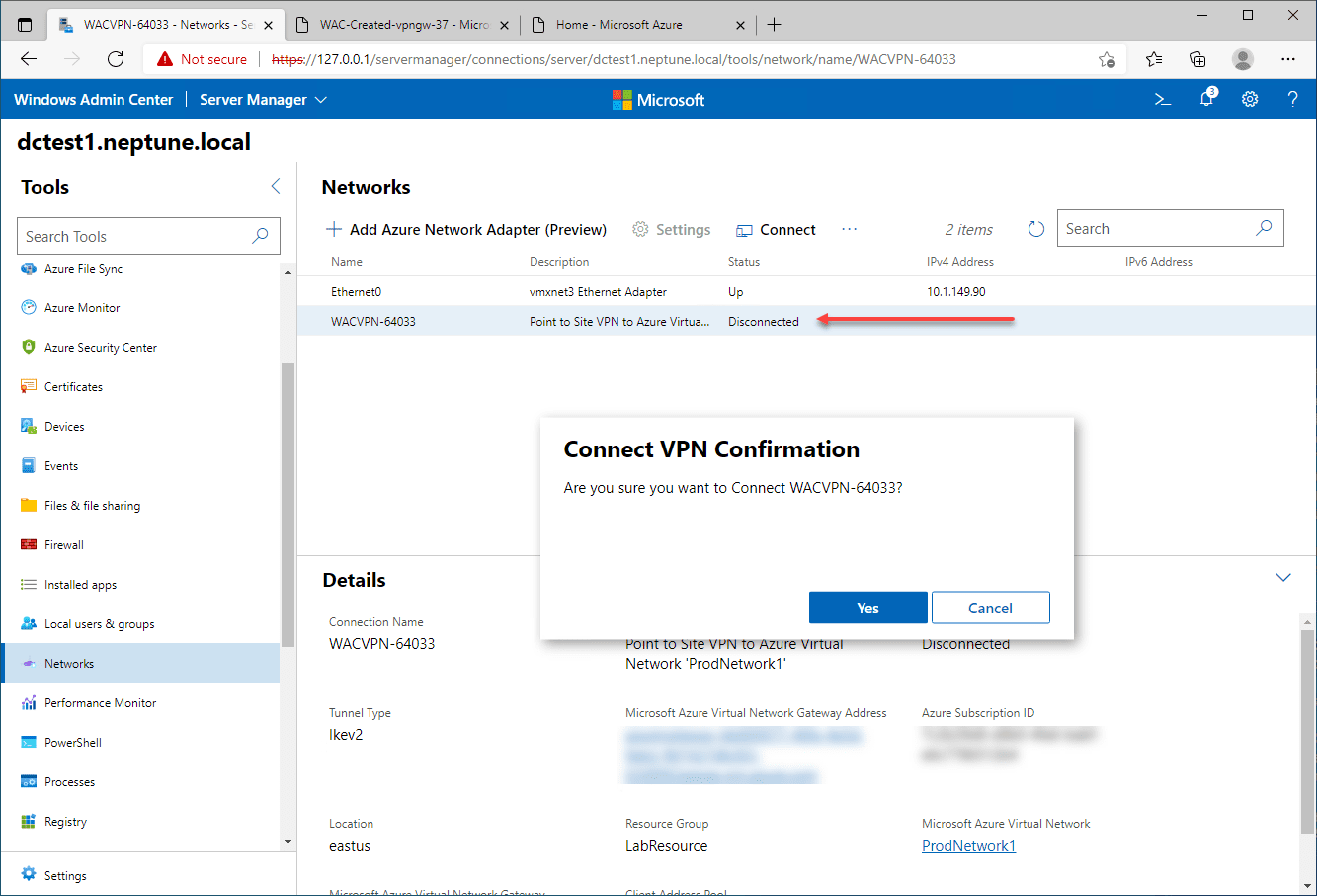 Right click the connection and select to connect