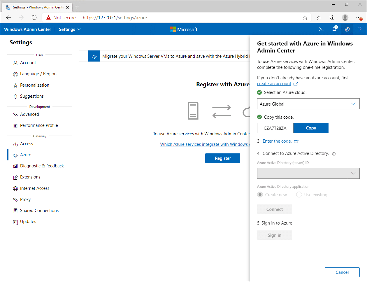 Select the Azure cloud and copy the code