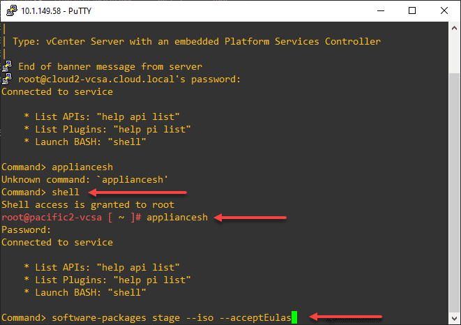 Shelling into the vCenter Server appliance and running the appliancesh command