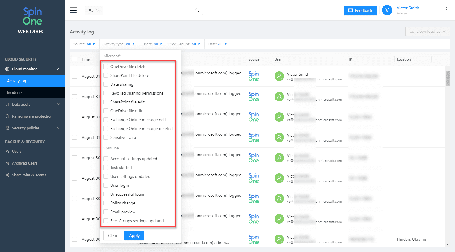 SpinOne activity types for Microsoft 365 cloud monitor