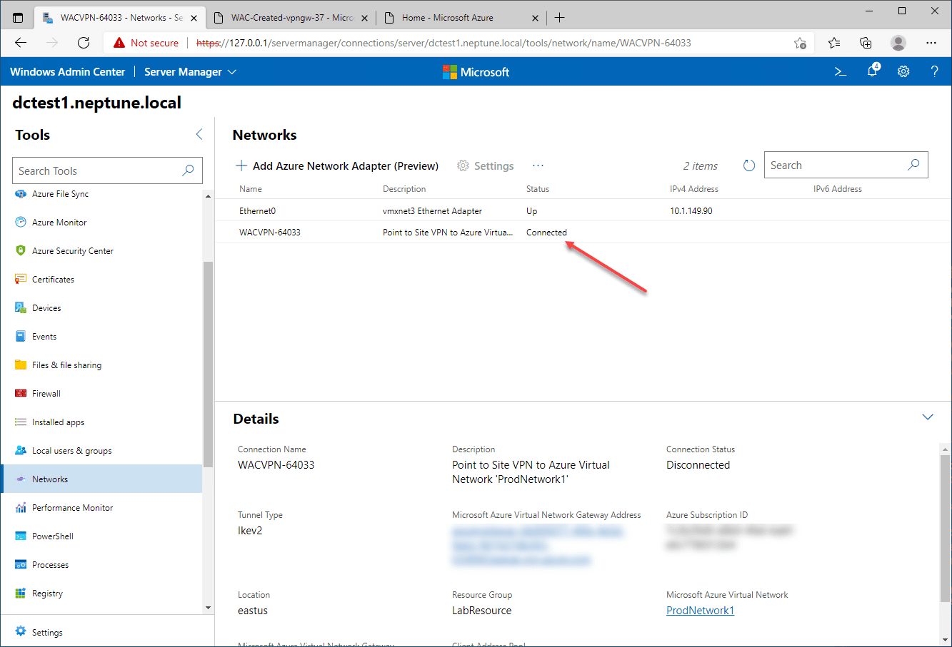 The Azure network adapter is connected successfully