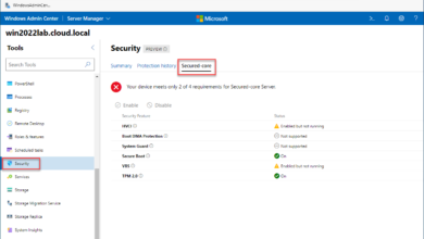Viewing Secured Core configuration in Windows Server 2022