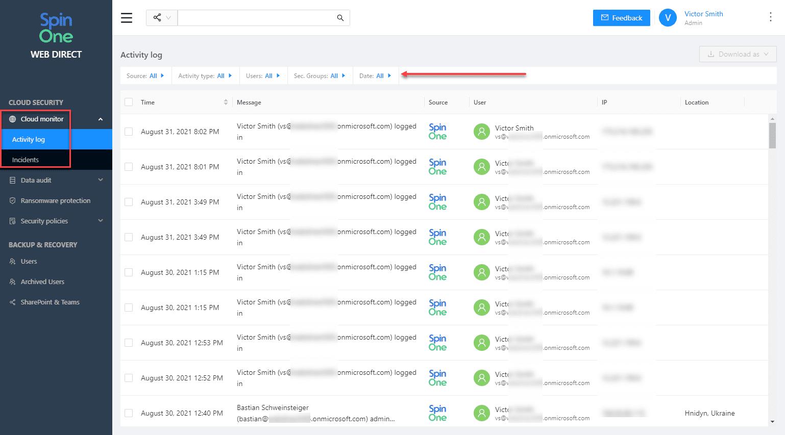 Viewing cloud monitor activity log using SpinOne