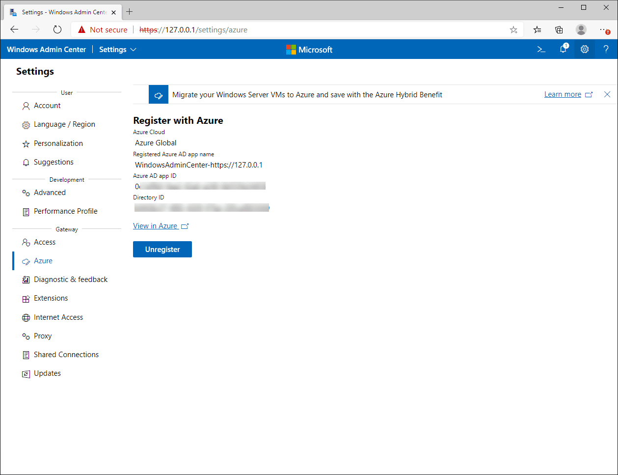 Windows Admin Center is registered with Azure
