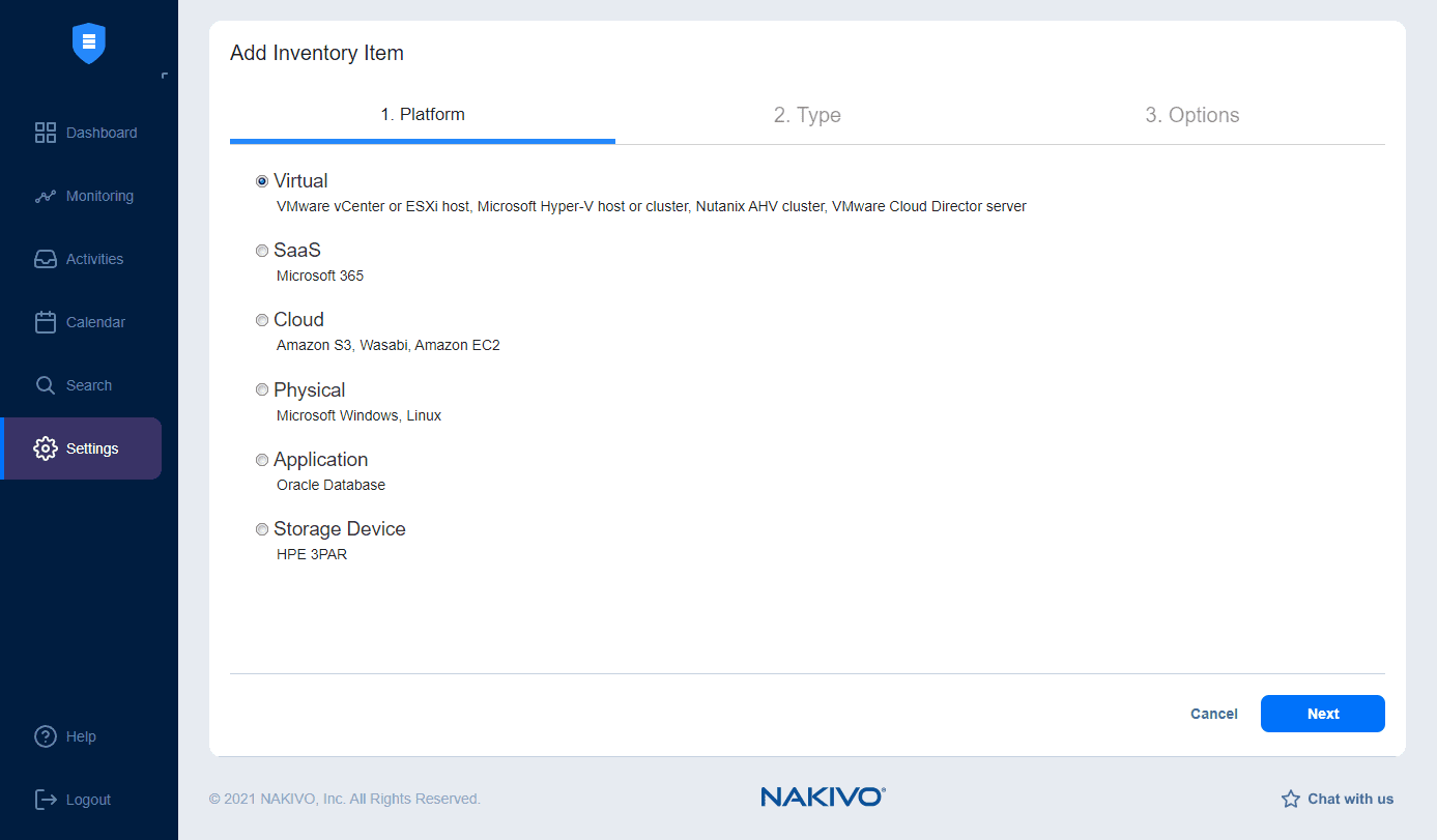 Add inventory item in NAKIVO