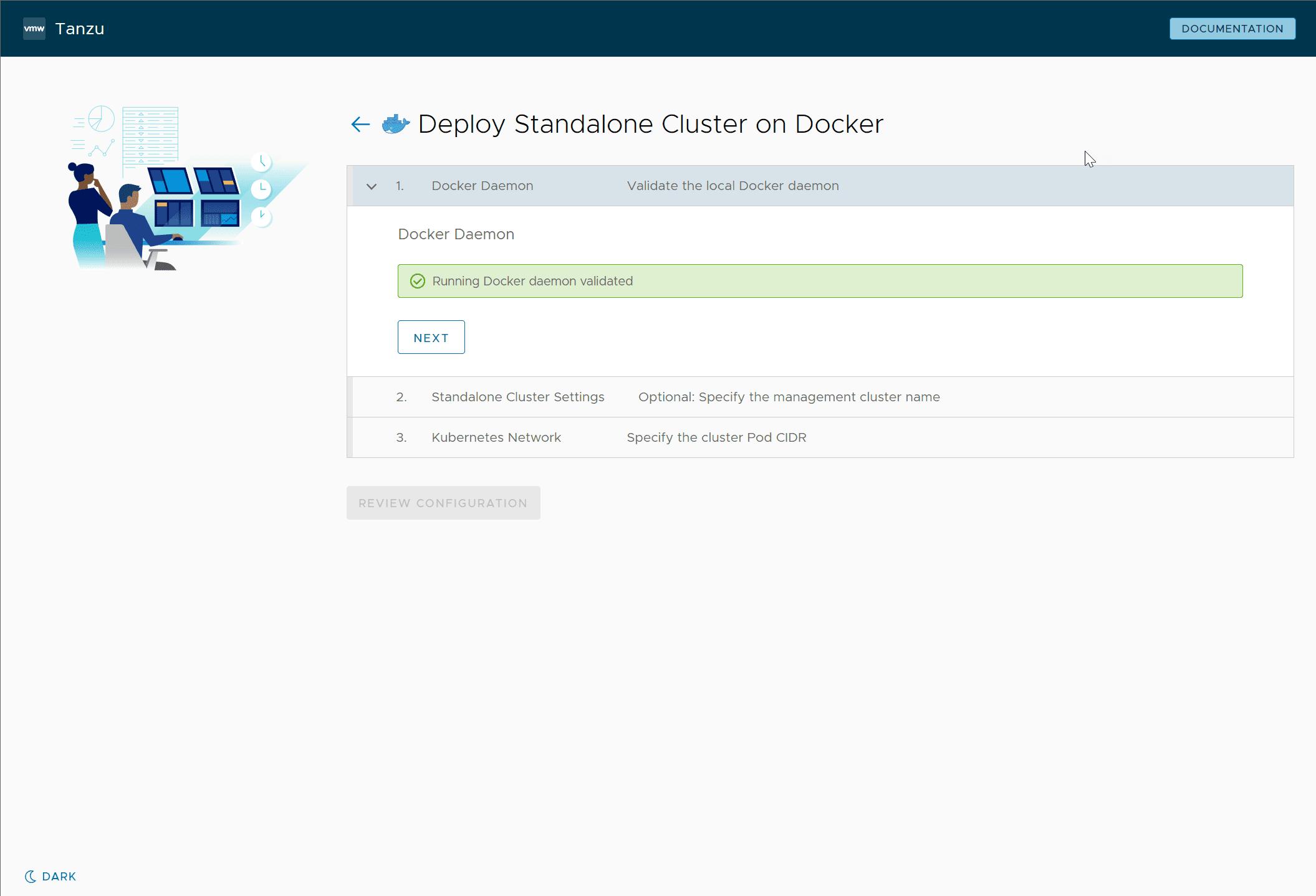 Beginning the Kickstart interface to deploy Tanzu Community Edition to Docker