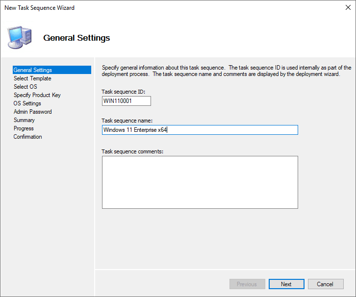 Beginning the new task sequence wizard for Windows 11
