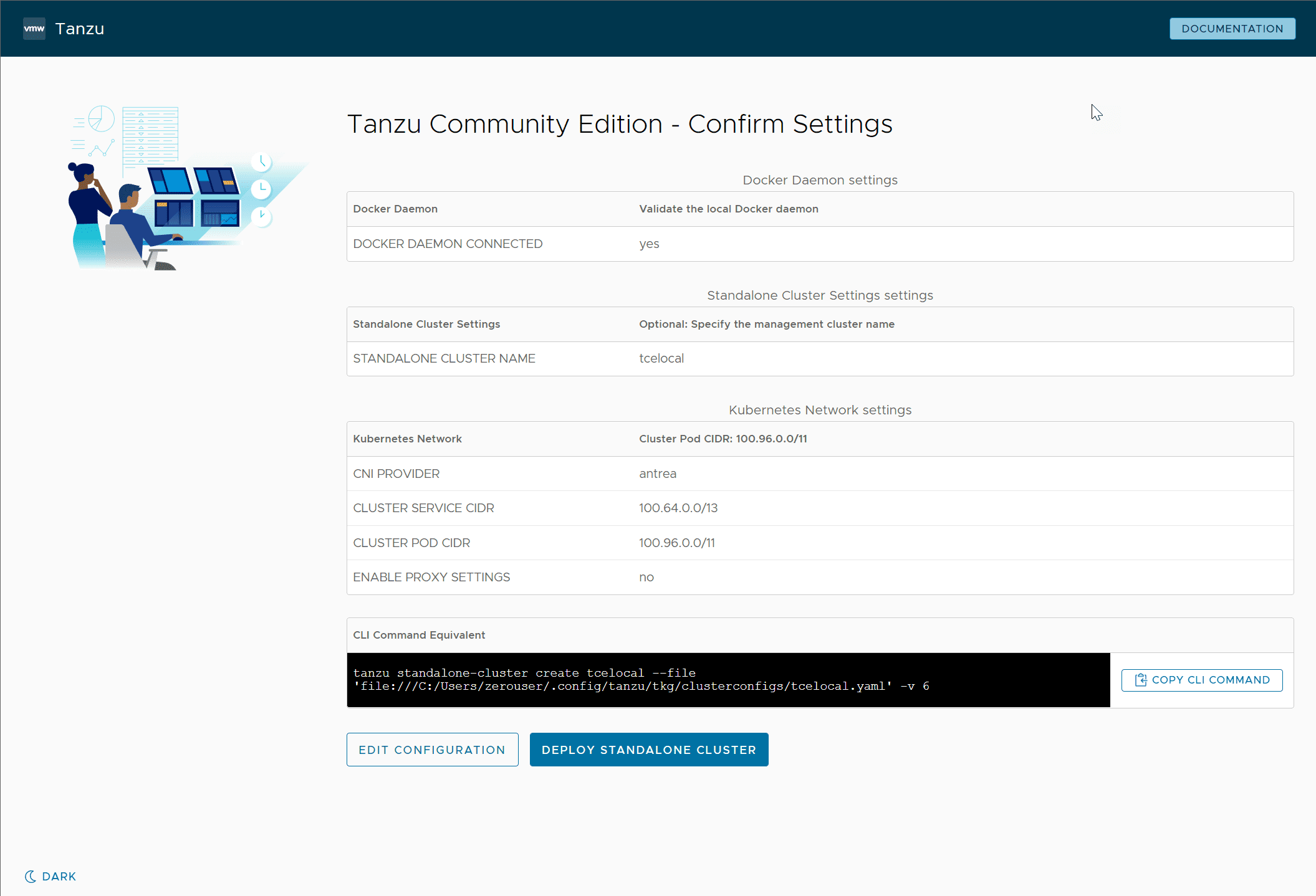 Confirm the Tanzu Community Edition standalone cluster configuration settings