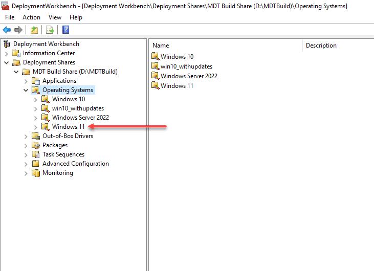 Create the Windows 11 operating system folder in MDT