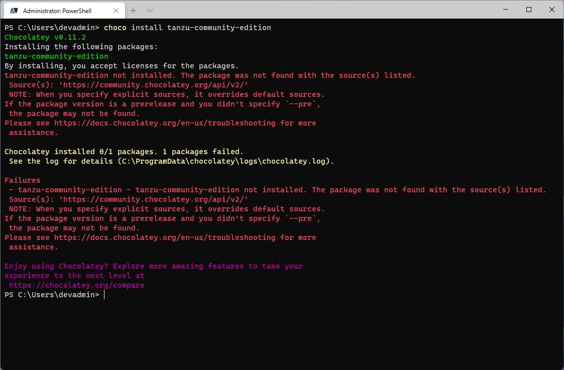 Error using Chocolatey to install VMware Tanzu Community Edition