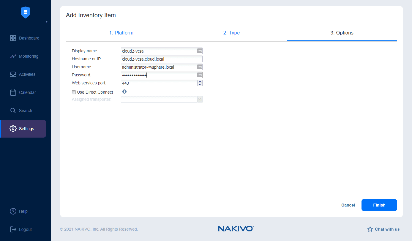 Finishing out adding the vSphere environment to NAKIVO