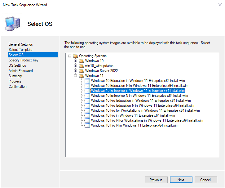 Select the OS to deploy in the task sequence